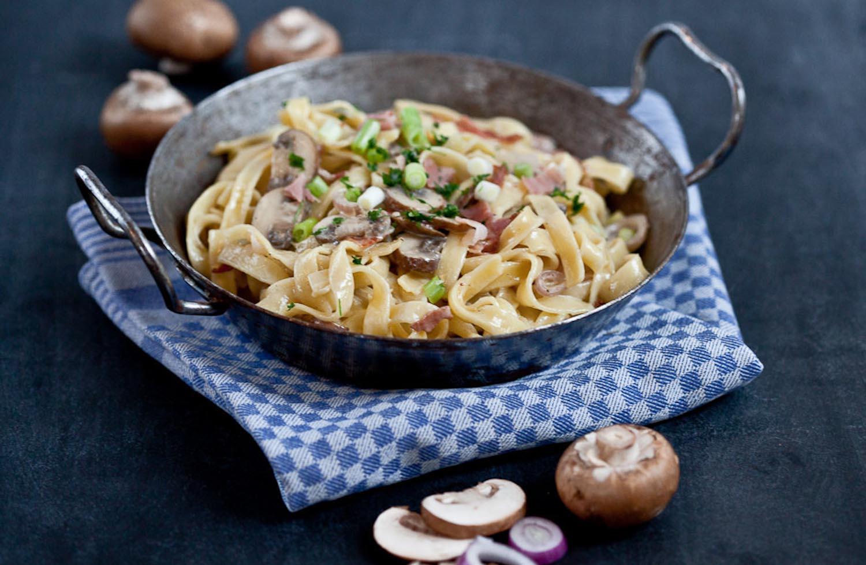 Tagliatelle Champignons Rezept familienküche